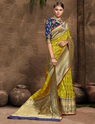 Olive banarasi silk wedding session saree