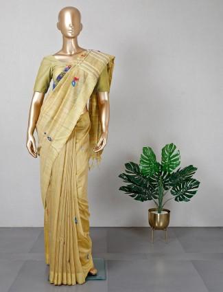 Olive cotton festive wear saree for women