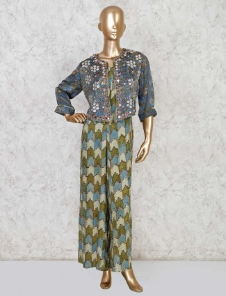 Olive cotton printed jump suit with jacket