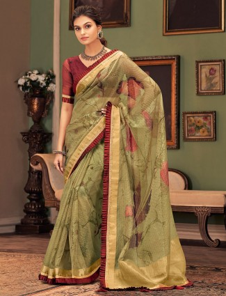 Olive cotton silk festive wear sari