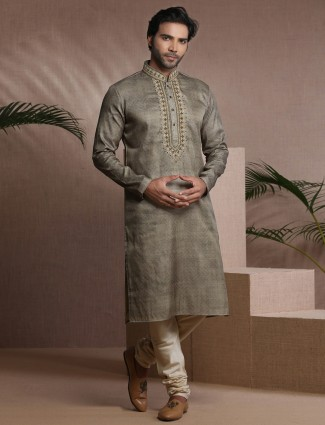 Olive cotton silk slim fit mens kurta suit