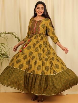 Olive elegant cotton casual wear printed kurti