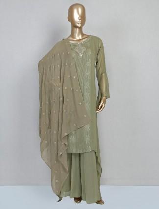 Olive georgette palazzo suit design