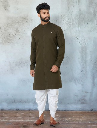 Olive green hue dhoti suit for mens
