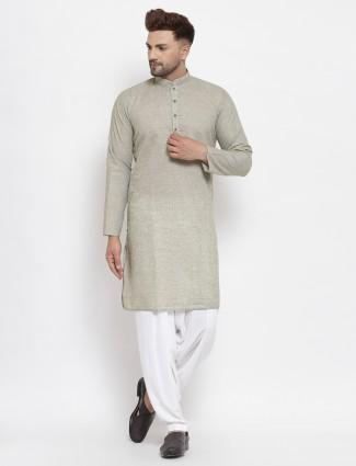 Olive green kurta suit in cotton