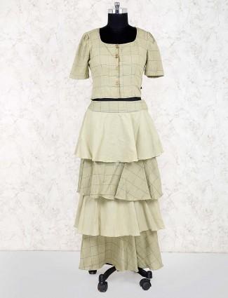 Mint green layer style checks pattern lehenga choli