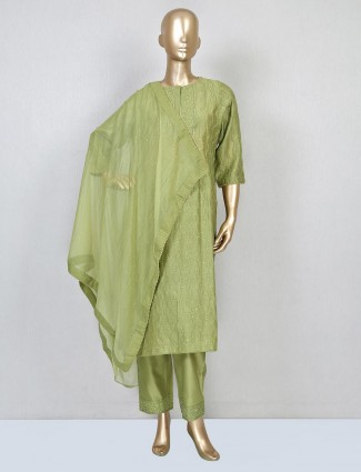 Olive green pant suit for women