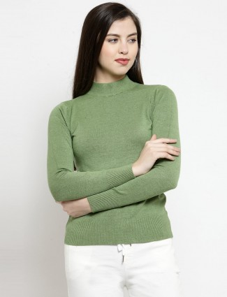 Olive green turtle neck knitted casual top