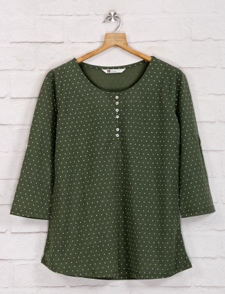 Olive half button casual top in cotton
