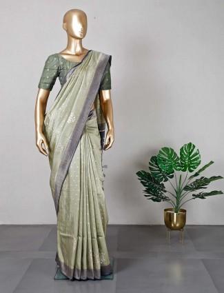 Olive hue wedding saree for women