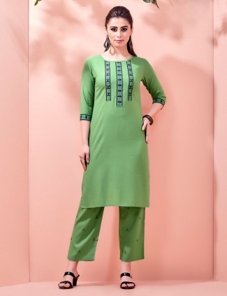 Olive pant style kurti in cotton
