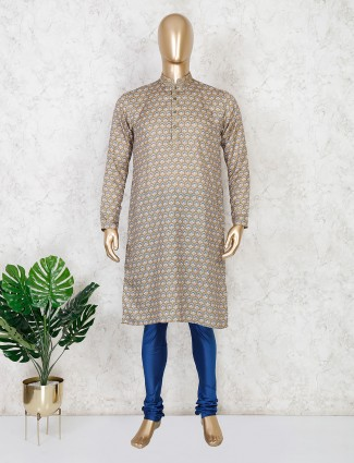 Olive printed cotton mens kurta suit