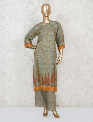 Olive printed kurta palazzo for a casual look