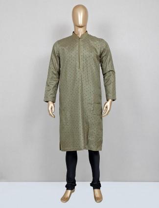 Olive printed silk kurta suit