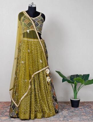 Olive silk wedding wear lehenga choli