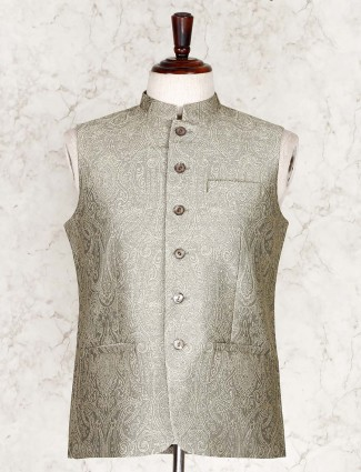 Olive thread woven cotton silk party wear waistcoat