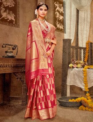 Onion pink banarasi silk wedding wear saree