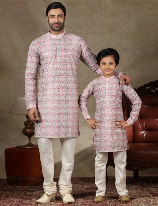 Onion pink cotton kurta suit for father and son
