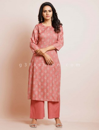 Onion pink cotton palazzo suit for festive