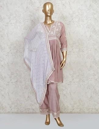 Onion pink festive wear peplum style salwar suit