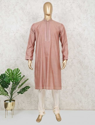 Onion pink full sleeves kurta suit for festive