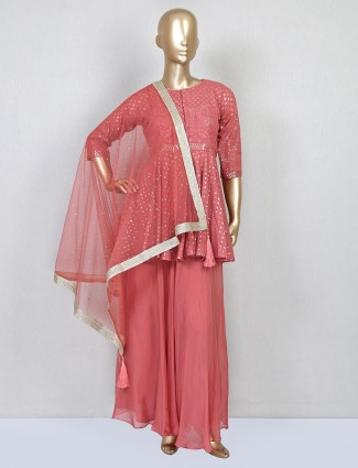 Onion pink georgette palazzo suit