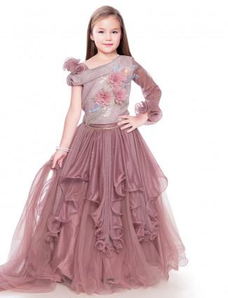 Onion pink georgette  party wear gown