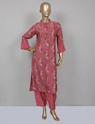 Onion pink printed cotton palazzo suit