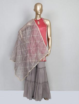 Onion pink satin silk festive wear salwar kameez