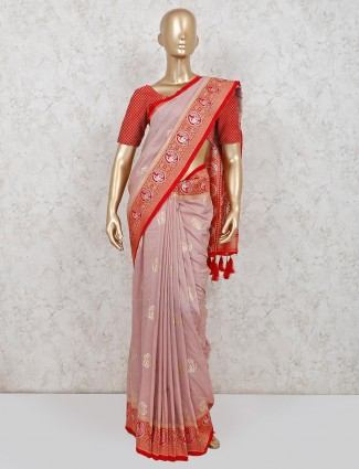 Onion pink wedding wear dola silk