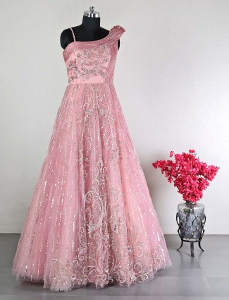Onion pink womens gown in net