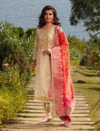 Opulent cream silk punjabi style festive wear pant suit