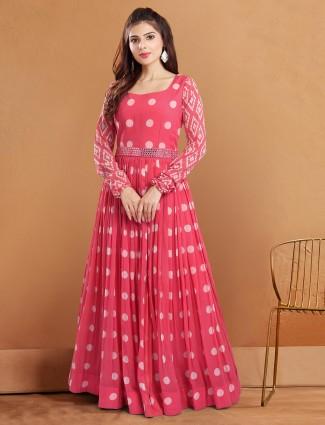 Opulent georgette festive wear anarakali suits in pink