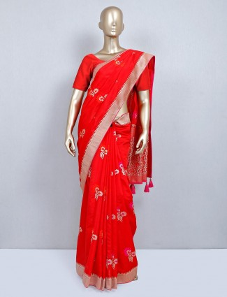 Opulent red muga silk festive wear saree