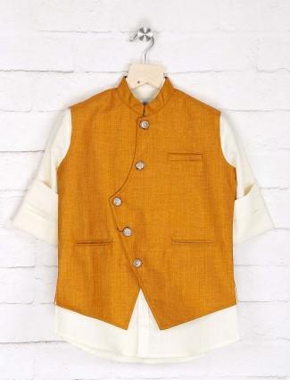 Orange and cream solid jute waistcoat shirt