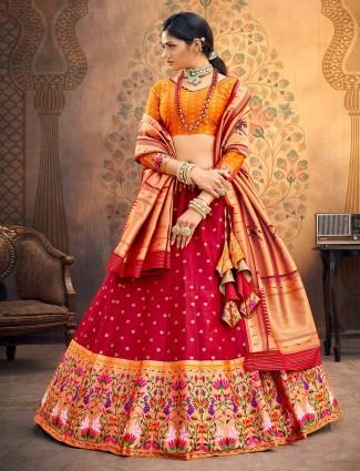 Orange and magenta banarasi silk wedding semi stitched lehenga choli