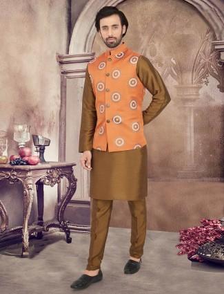 Orange and olive cotton party weat waistcoat set
