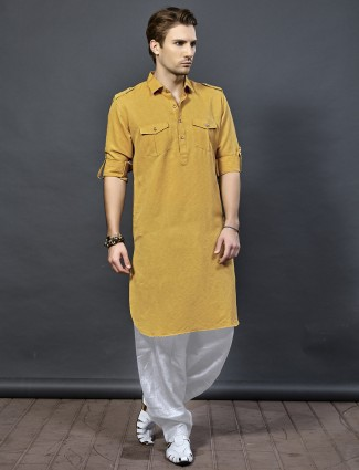 Mustard yellow color pathani suit for festive wear