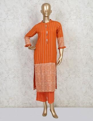 Orange cotton festive wear suit