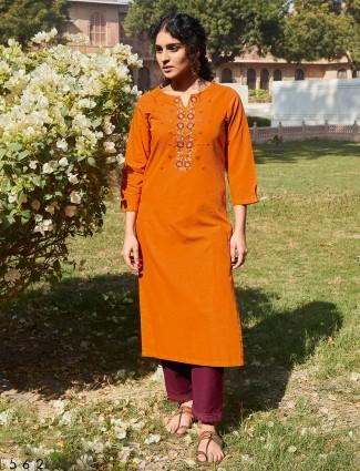 Orange cotton round neck punjabi pant suit