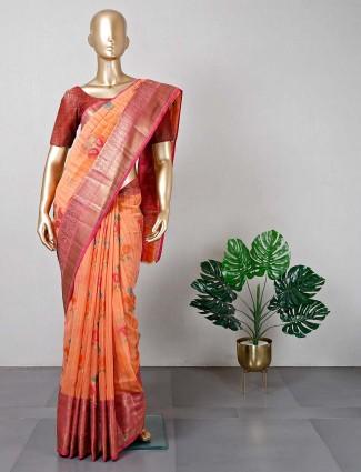 Orange cotton saree for festive look