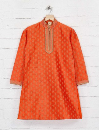 Orange cotton silk chinese neck kurta suit