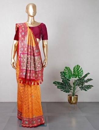 Orange cotton silk saree ideal for wedding