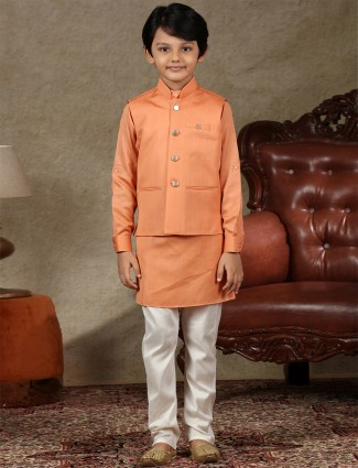 Orange cotton silk waistcoat set for boys