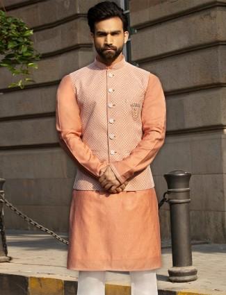 Orange mens raw silk kurta suit