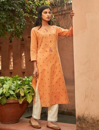 Orange printed cotton round neck punjabi pant suit