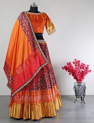 Orange raw silk beautiful wedding lehenga choli