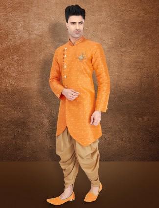 Orange raw silk semi indo western wedding wear