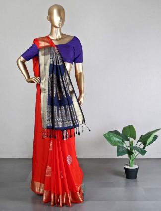 Orange semi silk saree for wedding with ready made blouse