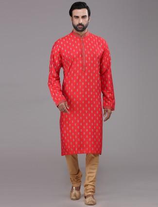 Orange silk printed kurta suit for festive